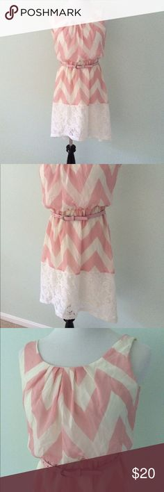 "🔴LAST CHANCE🔴Lily Rose pink white Chevron Dress Brand new with tags. High low  dress. Lined dress. Pink and white chevron print with knit bottom. Comes with pink belt. Some smudging marks in back of neckline. Should wash right out. Length in front 33"", back 38"". Polyester. Lily Rose Dresses High Low"