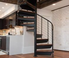 The Bradley (Custom Railing Spiral Stairs) Spiral Staircase Kits, Winding Staircase, Open Staircase, Staircase Design, Big Design, House Design, Traditional Staircase, House Stairs, Stair Treads