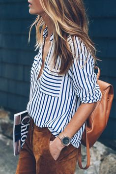 Express striped blouse and suede pants prosecco and plaid