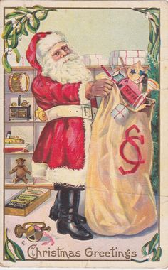 1914 - vintage American Christmas card - Christmas Greetings - Santa Claus, WWI era, sack of toys, red and white