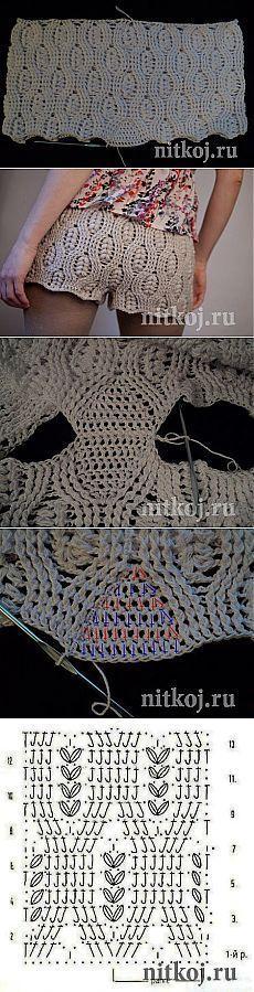 Shorts padrão de crochet