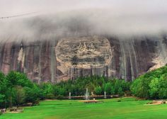 Awesome photo of the lawn and carving at Stone Mountain Park