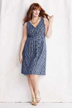 Womens Sleeveless Cotton Modal Pattern Fit and Flare Dress from Lands End (Celestial Blue Print)
