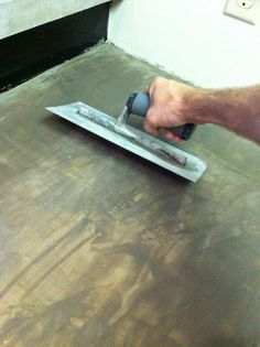 how to convert laminate countertops to concrete countertops.. why didn't i think of this!! briliant