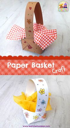 Paper Basket Craft - Tea Time Monkeys-- Here's a really easy paper basket that kids can make. This craft would fit well with Little Red Riding Hood, Easter or Spring activities, or as a teddy's picnic basket! Paper Crafts For Kids, Crafts For Kids To Make, Easter Crafts, Projects For Kids, Paper Basket Diy, Paper Basket Weaving, Picnic Activities, Spring Activities, Picnic Basket Crafts