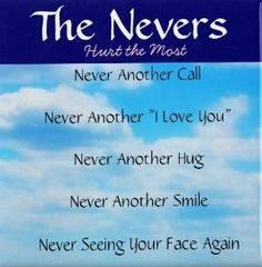 ~The Nevers~are difficult to live without. Sometimes this is an over whelming thought:( I miss you all everyday-Mom, Laura, Lynda, and Dad