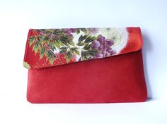 Red Japanese Clutch in red green purple and ivory by EmmaBeLoved