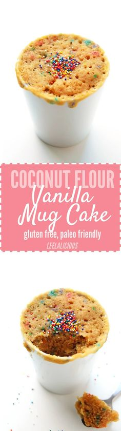 Coconut Flour Vanilla Mug Cake – satisfy your sweet cravings in a flash with this coconut flour mug cake that is gluten free, paleo friendly and ready in minutes! paleo dessert with coconut flour Paleo Dessert, Dessert Sans Gluten, Paleo Sweets, Gluten Free Sweets, Low Carb Desserts, Dessert Recipes, Gluten Free Mug Cake, Paleo Mug Cake, Cake Mug