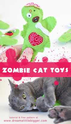Cats Toys Ideas - Felt Zombie Catnip Filled Cat Toys Tutorial - Ideal toys for small cats Cool Cat Toys, Diy Cat Toys, Dog Toys, Cat Crafts, Animal Crafts, Zombie Crafts, Halloween Zombie, Daisy, Ideal Toys