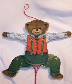 Vintage Wooden Bear Christmas Ornament-Pull String Toy-Movable