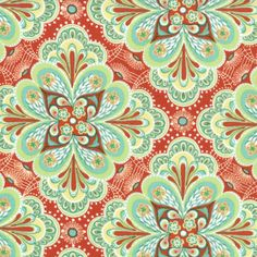 Paisley Flower Tangerine - Flora by Lauren and Jessi Jung for Moda
