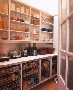 pantry--I love the counter idea between the top and bottom storage areas. pantry--I love t Pantry Layout, Home Kitchens, Pantry Laundry Room, Butler Pantry, Narrow Pantry, Pantry, Storage, Kitchen Design, Dream Pantry