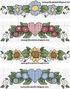 Gráficos de ponto cruz: Barradinho flores Cross Stitch, Kids Rugs, Embroidery, Floral, Chart, Decorations, Cross Stitch Baby, Cross Stitch Art, Cross Stitch Rose