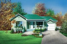 Houseplan 6146-00107 Guest House Plans, Small House Plans, Traditional House Plans, Ranch Style Homes, Traditional Bathroom, Square Feet, Floor Plans, House Design, How To Plan