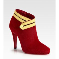 Christian Louboutin Pony Hair And Ribbon-Detail Ankle Boots ($1,495) ❤ liked on Polyvore