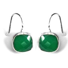 Natural Green Onyx sterling Silver Earring