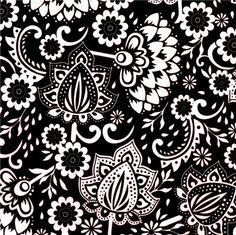 black Riley Blake flower laminate fabric Evening Blooms