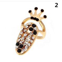 Crown Flower Crystal Finger Nail Rings