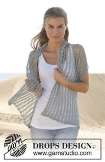 "Down By The Sea - Gehäkelter DROPS Schal in ""Lace"". - Free pattern by DROPS Design"