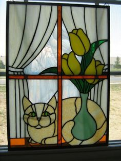 Cat In The Window - Delphi Stained Glass