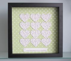 #CRAFTfest PaperHeartCreations: cute gift for almost any occasion - personalised papercut hearts in contrasting frame. #wedding