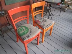 Painted and coffee sack upholstered chairs, staplegunned over original oilcloth seats. From folksyhome.com