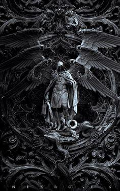 "The art of Nekro - photomanipulation - Archangel Michael kills Satan; titled, ""Three circles of hell"" Dark Fantasy Art, Dark Art, Final Fantasy, Archangel Tattoo, Archangel Azrael, Sculpture Art, Sculptures, Art Noir, Arte Obscura"