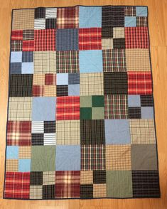 Memory Quilt Custom Made Quilt Amount Stated Represents a Gingham Quilt, Flannel Quilts, Scrappy Quilts, Easy Quilts, Shirt Quilts, Patchwork Quilting, Plaid Flannel, Flannel Shirt, Colchas Country