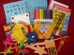 My Busy Kit - ideas for activities include foam sticker (lots of stars), crayons, notebook, stickers, coloring book, magnetic drawing pad, color matching with paint strips (need to make this), some number game, small book of choice, pompom game, playdough with straws to stick in it