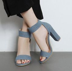 4db00201c8c Pure Color Open Toe Ankle Wrap Chunky High Heels Sandals