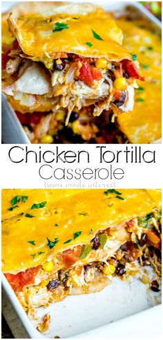 Chicken Tortilla Casserole is an easy Tex-Mex recipe made with layers of flour tortillas and a flavorful filling of chicken, spicy tomatoes, black beans, corn, and cheese. It is an easy weeknight casserole that makes a great dinner recipe. If you love Mexican flavors this chicken tortilla casserole is perfect for you.