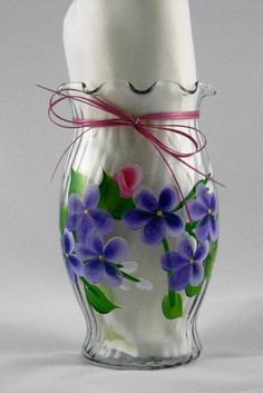 Vase with roses and violets by PattisPaintedPetals on Etsy,