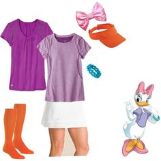"""Daisy Duck running costume"" by maramarrie on Polyvore"