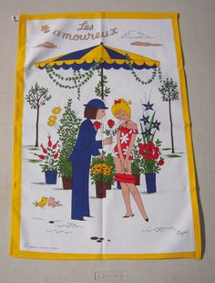 Vintage Towel Peynet Love In Bloom by unclebunkstrunk on Etsy