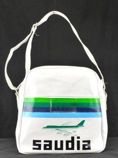 06ff1944d3e8 Vintage 1970s White Saudia Airlines Travel Bag (white