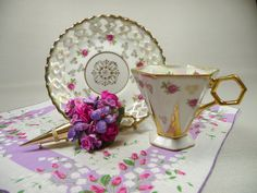 Vintage Footed Tea Cup & Saucer Hexagon with Hankie and by meaicp