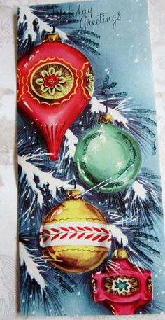 Vintage Christmas Ornament Holiday Card with Glitter Christmas Ornament Wreath, Christmas Books, Vintage Christmas Ornaments, Retro Christmas, Christmas Music, Christmas Photos, Christmas Time, Green Christmas, Vintage Holiday