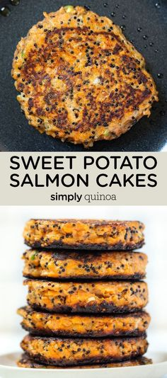 These Sweet Potato Salmon Cakes are the best healthy lunch or dinner idea! If you're looking for a quick and easy weeknight meal, this recipe is for you. Gluten-free and pan seared for the best flavor and texture! Healthy Salmon Cakes, Healthy Dinner Recipes, Cooking Recipes, Quinoa Sweet Potato, Just Cooking, Easy Weeknight Meals, Arbonne, Main Meals, Gluten Free Recipes