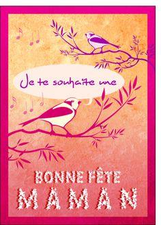 Carte Bonne fete des meres et oiseaux pour envoyer par La Poste, sur Merci-Facteur !