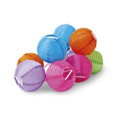 Evening party? Decorative light string with coloured paper globe lanterns.