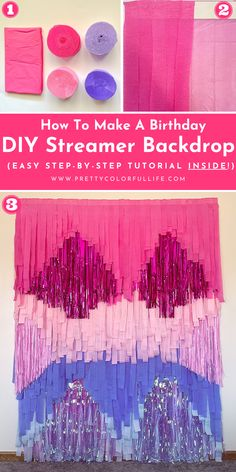Make a streamer backdrop with fringe garland for your next birthday party or baby showers. Head to your local Dollar Tree to find easy streamer decorations to make this tassel backdrop on a budget. Take gorgeous photos with your family and friends in front of this stunning DIY photo backdrop. Style this DIY birthday backdrop with a happy birthday sign, and a balloon garland. Click the link to learn how to follow my easy step-by-step tutorial on how to make a streamer backdrop.