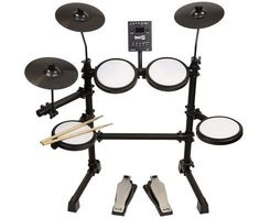 RockJam Mesh Head Kit, Eight Piece Electronic Drum Kit with Mesh Head, Easy Assemble Rack and Drum Module including 30 Kits, USB and Midi connectivity - Music Bass Guitar Lessons, Drum Lessons, Drum Sets For Sale, Electric Drum Set, Digital Drums, Bass Guitars For Sale, Drum Key