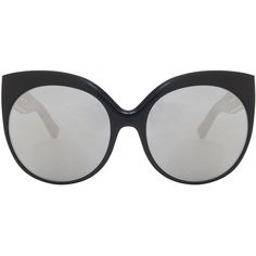 LINDA FARROW LUXE Platinum Cateye Sunglasses (16.435.765 IDR) ❤ liked on Polyvore featuring accessories, eyewear, sunglasses, linda farrow luxe, mirror glasses, platinum eyewear, black and white sunglasses and mirror sunglasses
