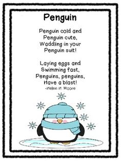 Poetry Pals-Seasonal and Thematic Poems For Your Classroom Preschool Poems, Kindergarten Poems, Kids Poems, Preschool Winter, Winter Kids, Winter Holiday, Penguin Songs, Penguin Craft, Songs