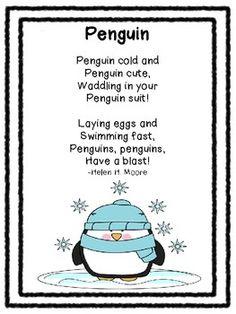 Poetry Pals-Seasonal and Thematic Poems For Your Classroom Preschool Poems, Kindergarten Poems, Preschool Winter, Winter Kids, Winter Holiday, Penguin Songs, Penguin Craft, Classroom Activities, Penguins