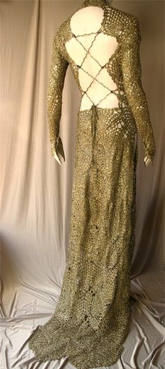 Crochet gold dress
