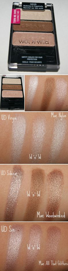 DUPES :: Wet n Wild Walking On Eggshells w/ MAC & Urban Decay Naked Palette Dupes :. Bb Beauty, Beauty Dupes, Hair Beauty, All Things Beauty, Beauty Make Up, Urban Decay, Make Up Dupes, Walking, Lips