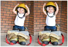 Dad's firefighter gear by Christie Knight Photography Fireman Party, Firefighter Birthday, Father Birthday, Baby Boy 1st Birthday, Firefighter Gear, Firefighter Pictures, Children Photography, Newborn Photography, Family Photography