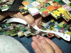 Prišívanie zipsu na papierovú kabelku obnovený fotopostup