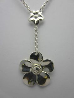 Sterling Silver Floral Necklace 925 Flower Dropper Design Gift Box British Made